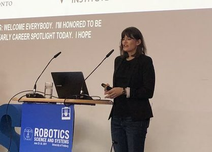 Prof. Angela Schoellig is awarded the Early Career Spotlight at Robotics Science and Systems (RSS) 2019. Photo courtesy George J. Pappas.