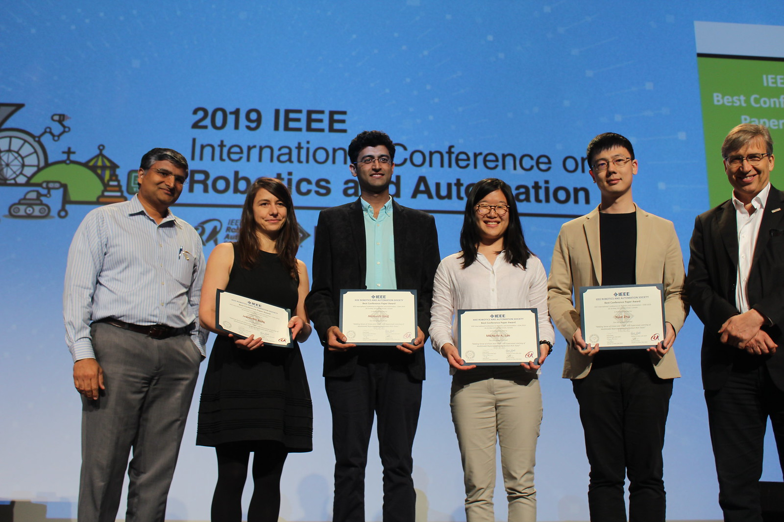 "Animesh Garg, who joins the University of Toronto Robotics Institute this summer, receives ""Best Paper Award at ICRA 2019 for Making Sense of Vision and Touch: Self-Supervised Learning of Multimodal Representations for Contact-Rich Tasks"" ( Michelle Lee, Yuke Zhu, Krishnan Srinivasan, Parth Shah, Silvio Savarese, Fei-Fei Li, Animesh Garg, Jeannette Bohg)."