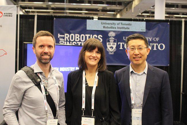 Profs. Tim Barfoot, Angela Schoellig and Yu Sun represent the UofT Robotics Institute at ICRA 2019. Photo courtesy Xiaoyu Zhu.