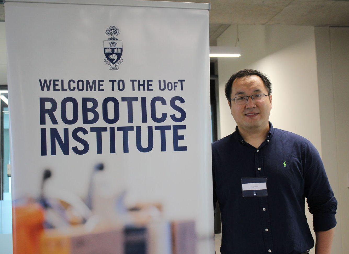 XingJian Liu at the Robotics Institute launch, May 25, 2019. Photo courtesy Xiaoyu Zhu.