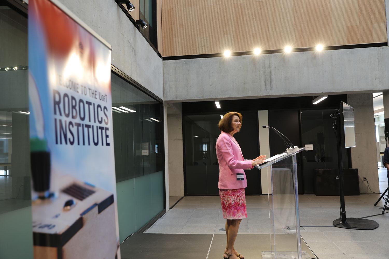 Dean Cristina Amon at the Robotics Institute launch, May 25, 2019. Photo courtesy Liz Do.