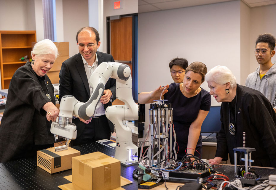 Lieutenant Governor Liz Dowdeswell visits UTM's growing robotics research cluster. Photo source: UTM