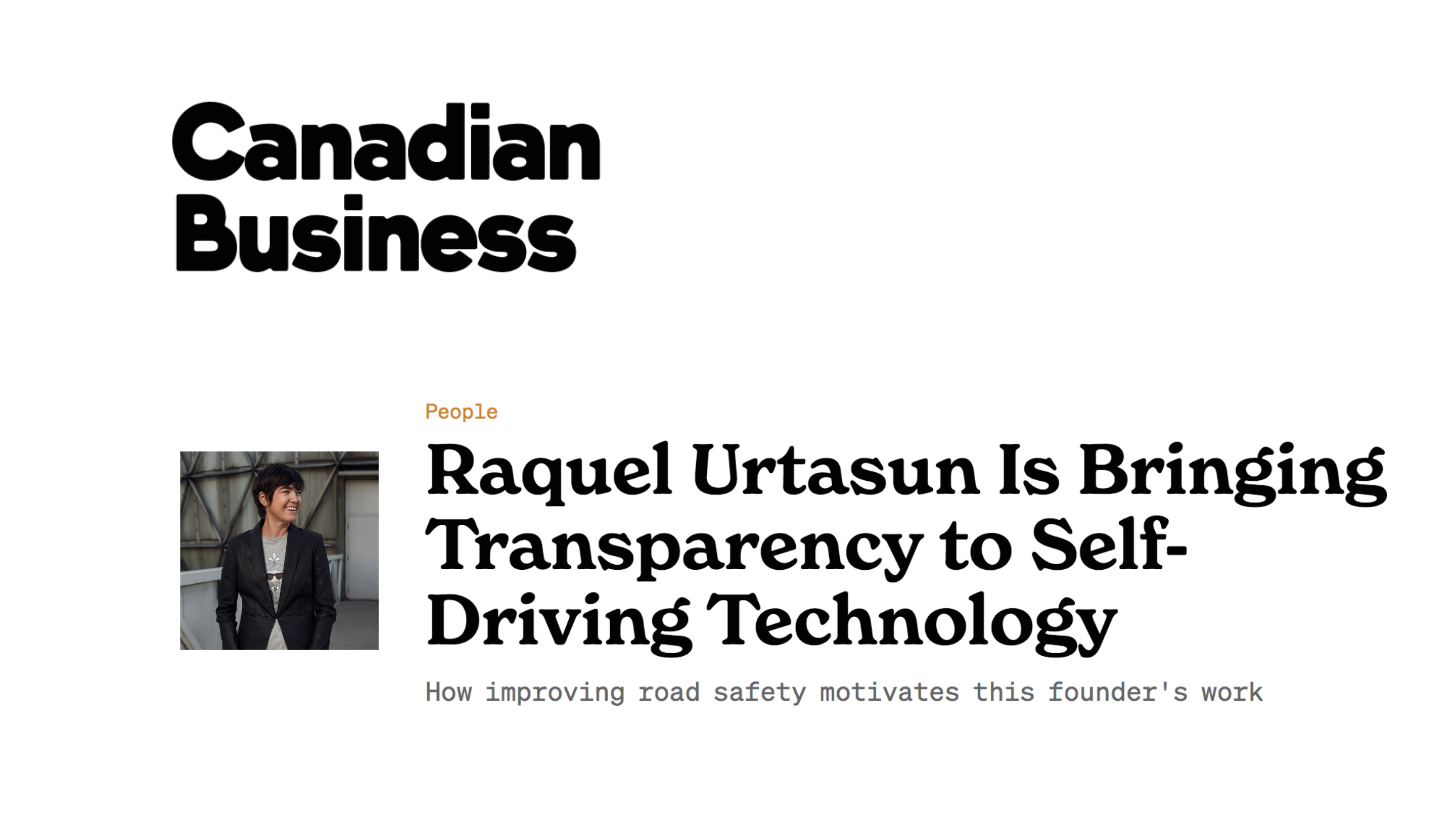 Canadian Business: Raquel Urtasun is Bringing Transparency to Self-Driving Technology